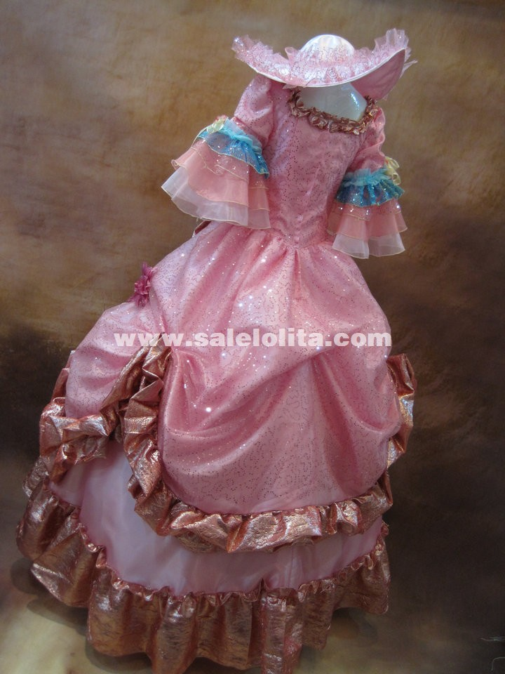 High-end Pink Floral Sequin Marie Antoinette Dress 17th 18th Century European Renaissance Ball Gown Baroque Rococo Dress