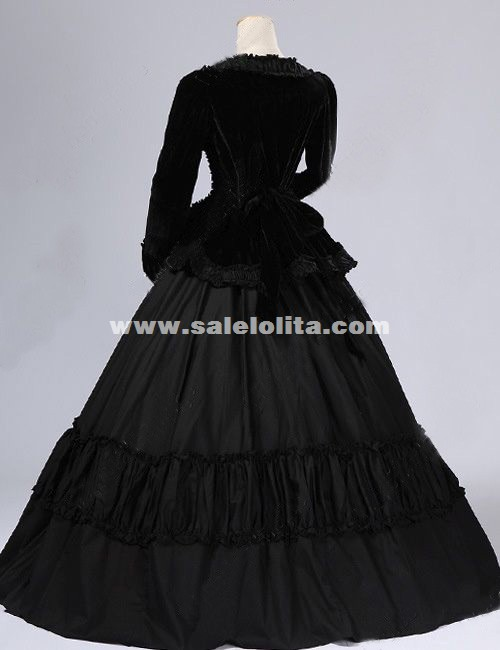 Black Velvet Civil War Gothic Victorian Ball Gown Dress Reenactment Theatre Costume Halloween Party Dress For Women