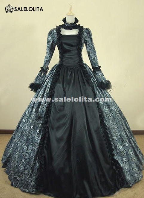 Victorian Gothic Brocade Period Costume Vintage 18th Century Ball Gown Renaissance Costume