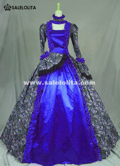 Victorian Gothic Cosplay Satins Dress Ball Gown Steampunk Reenactment Costumes