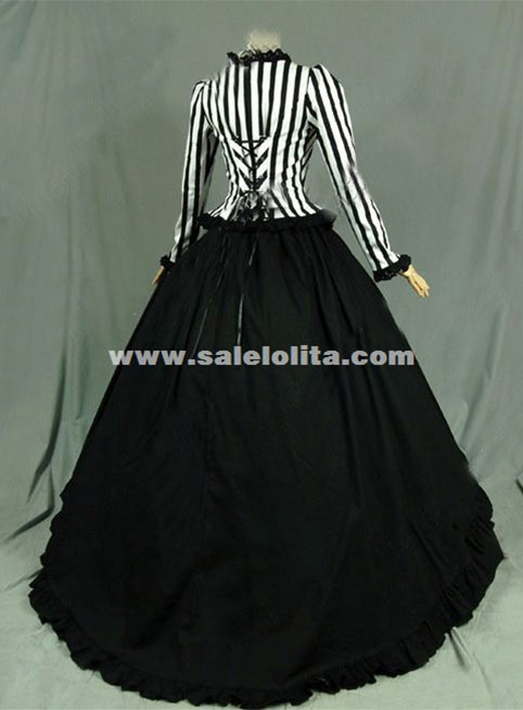War Victorian Steampunk Dress Black White Stripes Gothic Ball Gown ...