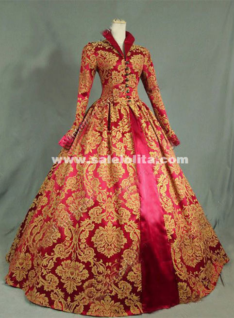 Brand New Print Brocade Long Victorian Tudor Jacquard Period Dress 17th Century Ball Gowns Costume