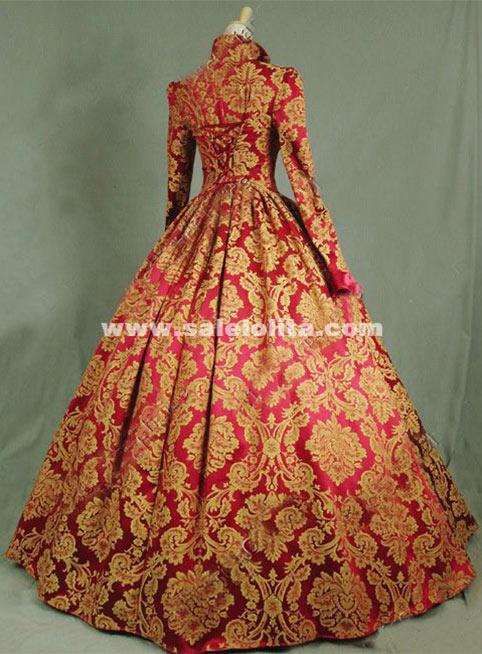 brand new print brocade long victorian tudor jacquard
