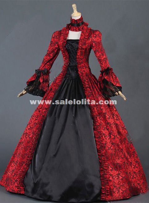 Red Floral Brocade Victorian Colonial Dress Georgian Period Ball Gowns Victorian Steampunk Wedding Dress