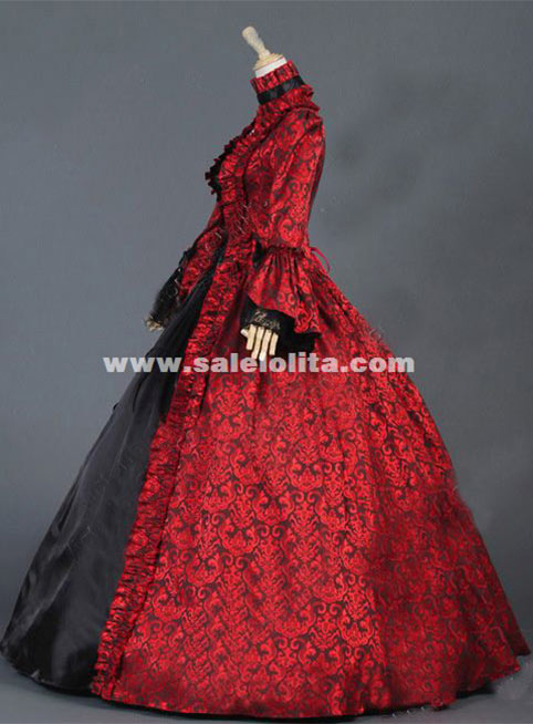 Floral Brocade Victorian Colonial Dress Georgian Period Ball Gowns ...