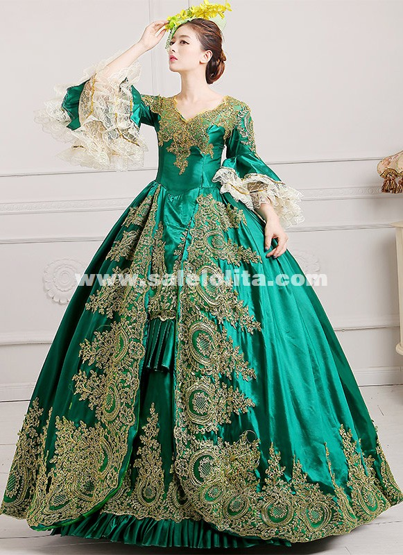 2016 Royal Palace Green Lace Dance Stage Dress Medieval