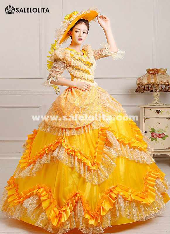 2016 Hot Sale Yellow Celebrate Birthday Party Dress Medieval Marie Antoinette Victorian Queen Dress