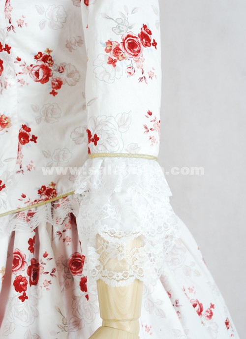 2018 Hot Fashion White And Pink Print Gothic Victorian Ball Gown Dresses For Women