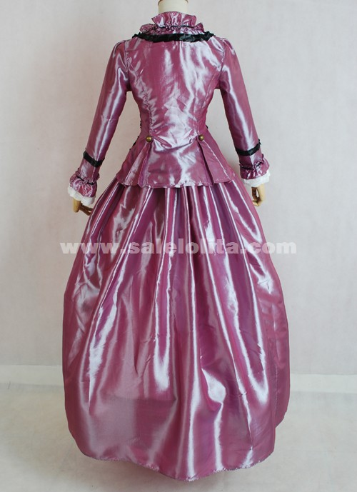 Latest Designs Long Sleeve Rose Red Halloween Gothic Victorian Ball Gowns For Sale