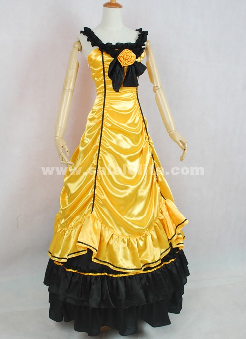Gold and Black Satin Ruffled Gothic Victorian Gown Costume For Dropshipping
