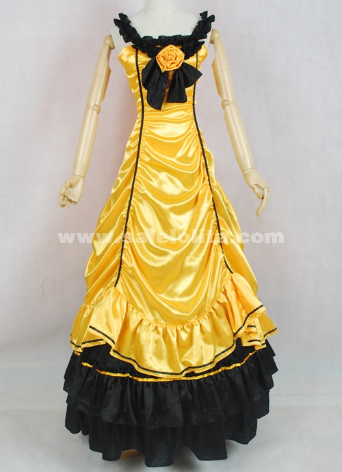 Gold and Black Satin Ruffled Gothic Victorian Gown Costume For ...
