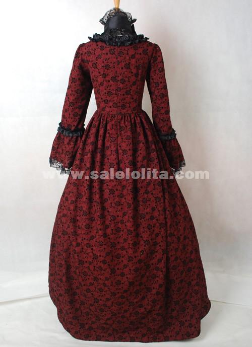 Dark Red and Black Cotton Printed Gothic Victorian Masquerade Ball ...