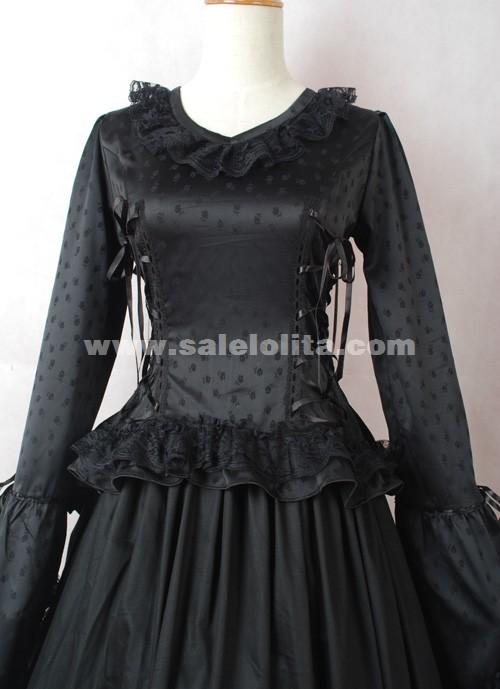 brand new black long sleeves cotton halloween victorian ball gown  civil war dress