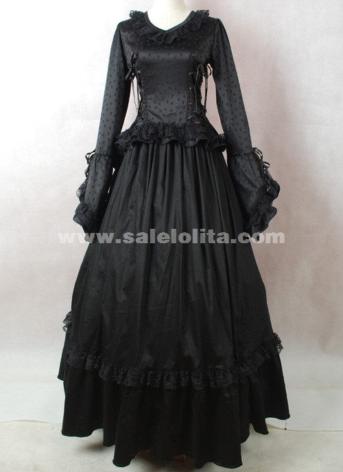 brand new black long sleeves cotton halloween victorian ball gowncivil war dress loading