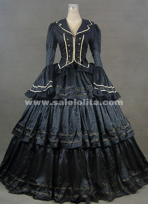 Brand New Black Long Sleeves Ruffled Victorian Civil War Era Ball