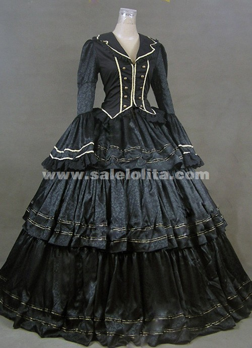Brand New Black Long Sleeves Ruffled Victorian Civil War