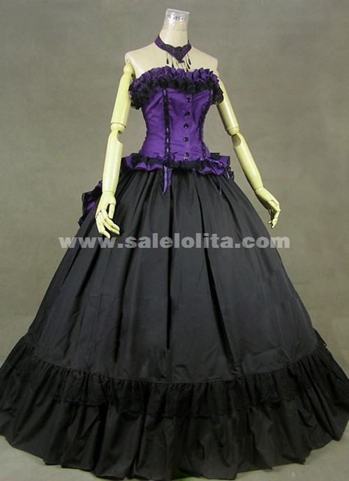 Brand New Purple And Black Long Sleeves Ruffled Strapless Victorian ...