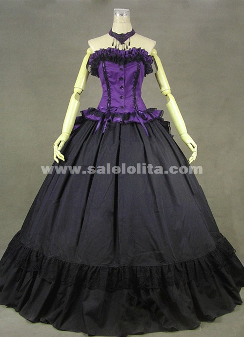 Brand New Purple And Black Long Sleeves Ruffled Strapless Victorian