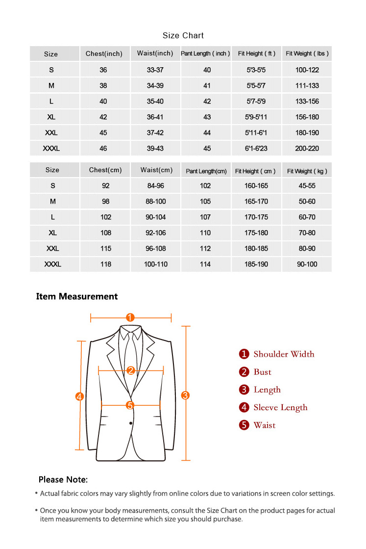 Men Suits Size Chart