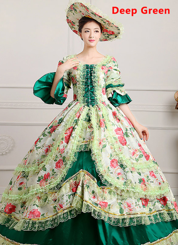 Deep Green Medieval Renaissance 18th Century Victorian Marie Antoinette Dress