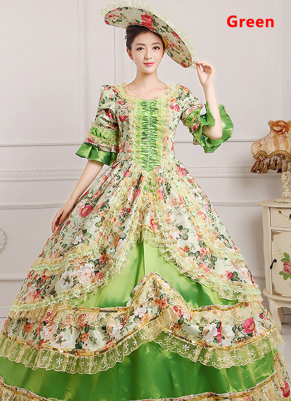 Green Medieval Renaissance 18th Century Victorian Marie Antoinette Dress