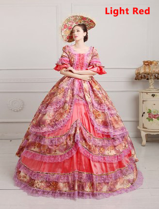 Light Red Medieval Renaissance 18th Century Victorian Marie Antoinette Dress