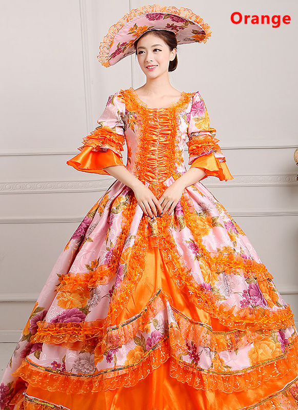Orange Medieval Renaissance 18th Century Victorian Marie Antoinette Dress