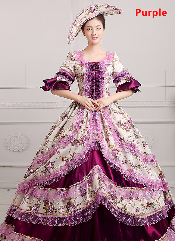 Purple Medieval Renaissance 18th Century Victorian Marie Antoinette Dress