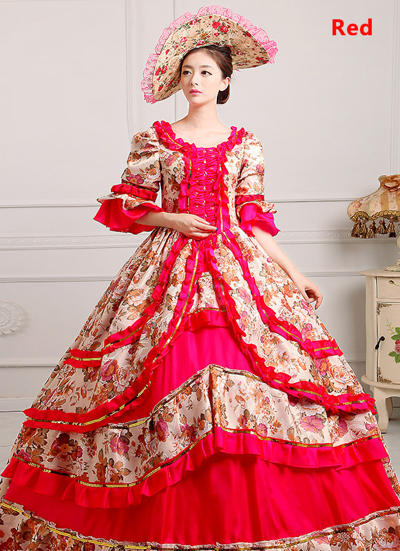 Red Medieval Renaissance 18th Century Victorian Marie Antoinette Dress