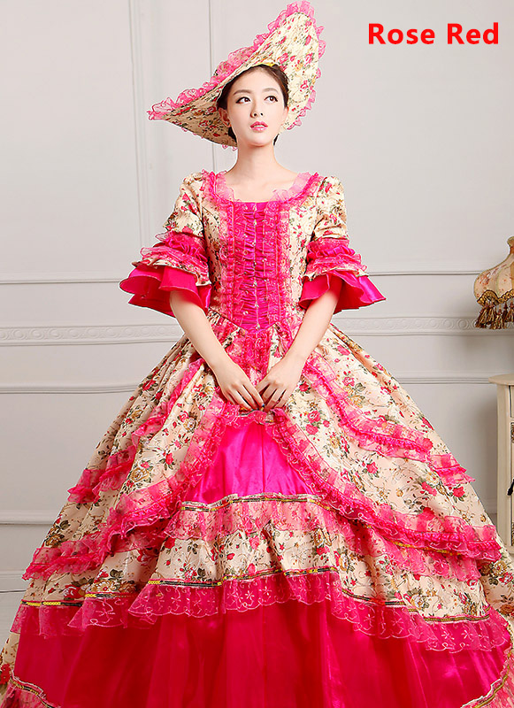 Rose Red Medieval Renaissance 18th Century Victorian Marie Antoinette Dress