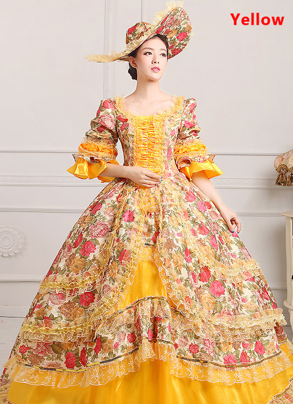 Yellow Medieval Renaissance 18th Century Victorian Marie Antoinette Dress