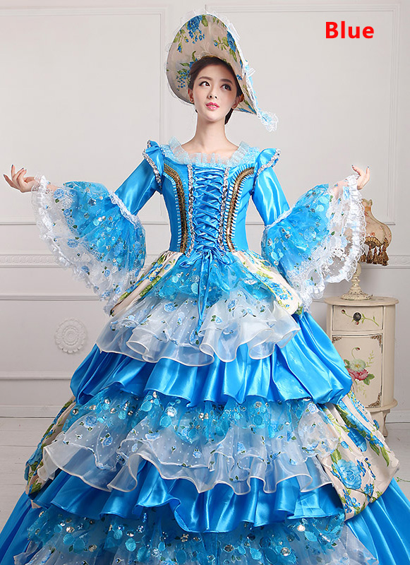 Blue 18th Century Marie Antoinette Ball Gown