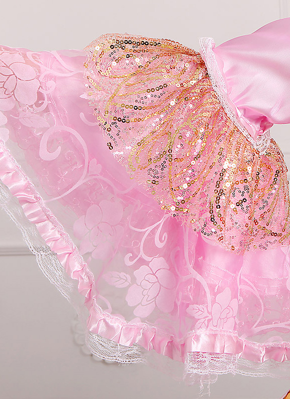 Detail Of Pink Long 18th Century Marie Antoinette Victorian Drss_2