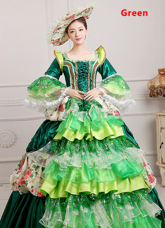Green 18th Century Marie Antoinette Ball Gown