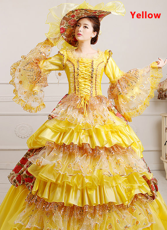 Yellow 18th Century Marie Antoinette Ball Gown
