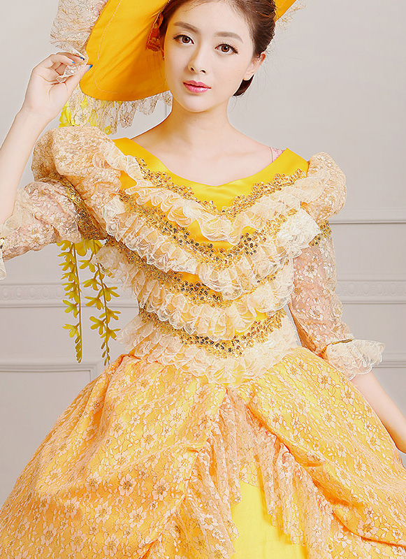 Detail Of Yellow Celebrate Birthday Marie Antoinette Victoian Dress_2