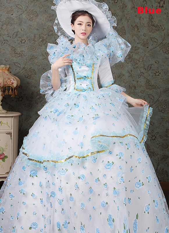 2016 Blue Floral Dance Dress Medieval Victorian Marie Antoinette Dress