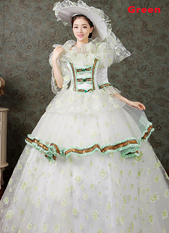2016 Green Floral Dance Dress Medieval Victorian Marie Antoinette Dress