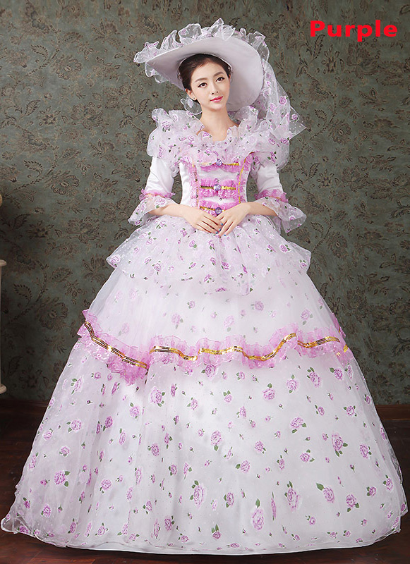 2016 Purple Floral Dance Dress Medieval Victorian Marie Antoinette Dress