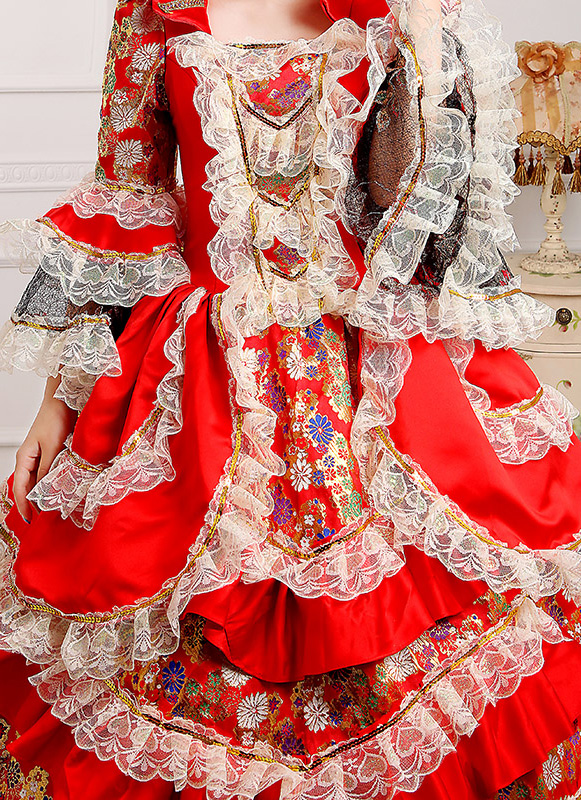detail of Red Print Medieval Victorian Period Marie Antoinette Masquerade Dresses_1