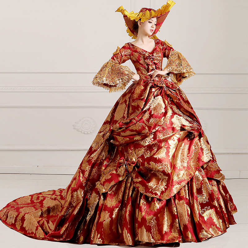 2016 Wine Red Print Floral 18th Century Costume Medieval Marie Antoinette Dress For Women
