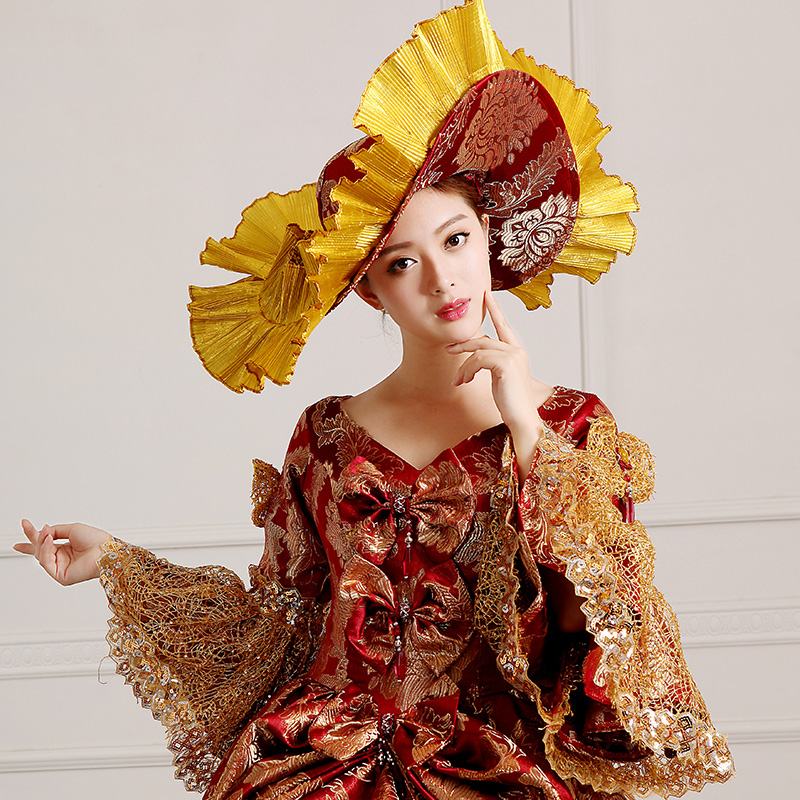 Detail Of Wine Red Print Floral 18th Century Costume Medieval Marie Antoinette Dress For Women_2