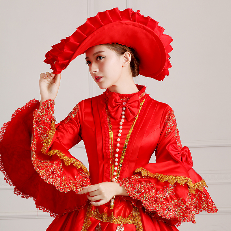 Detail Of Red Palace Vintage Medieval Renaissance Marie Antoinette Wedding Party Dress For Women_1