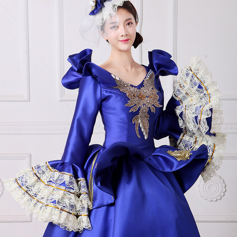 Royal Blue Embroidery Vampire Queen Masquerade Ball Gown Marie ...