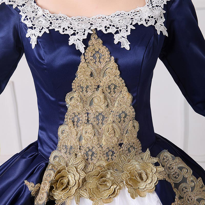 Brand New Blue Embroidery Marie Antoinette Ball Gowns Civil War Southern  Belle Masquerade Dress Reenactment Women Clothing