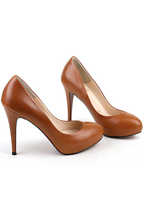 Comfortable Brown PU High Heels - SaleLoLita.com