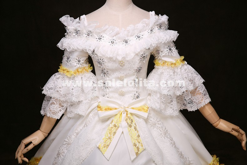 White Lace Marie Antoinette Dress 17th 18th Century Wedding Party Dress Rococo Medieval Renaissance Gowns
