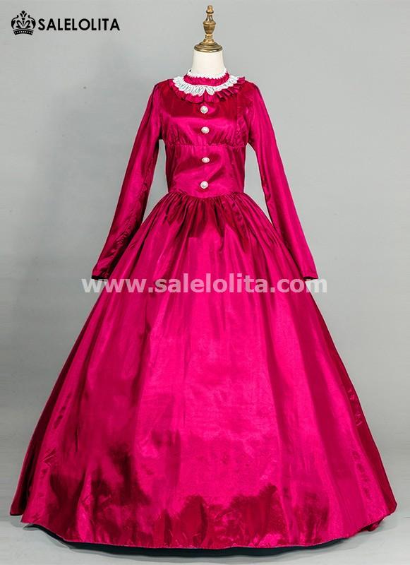Rose Red Victorian Civil War Dress
