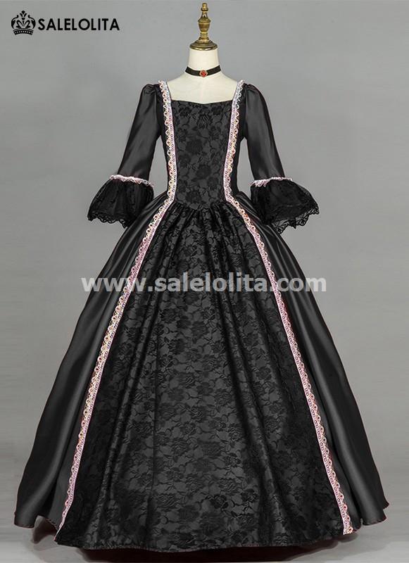Black Simple Renaissance Gothic Victorian Dress