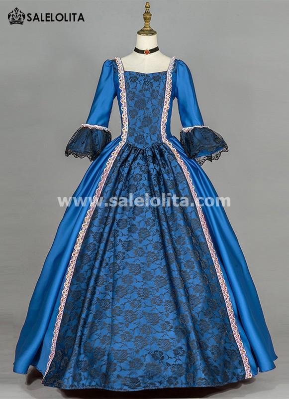 Blue Simple Renaissance Victorian Dress